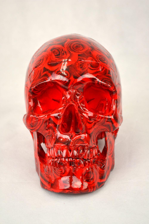 High Degree Emulation 1:1 Human Medical Skull Art Replica, 2-part, Life Size Rose Black